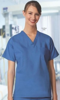 Unisex Set-in Sleeve Scrub Shirts  - FB Solid - Product Image